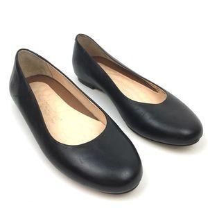 Walking cradles leather comfort flats black